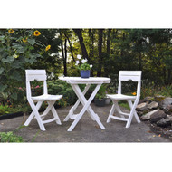 3-Piece Folding Outdoor Patio Furniture Bistro Set in White W3CBS899