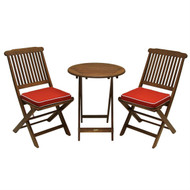 3-Piece Outdoor Patio Furniture Bistro Set with Red Seat Cushions OE16951458