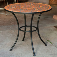 Round Outdoor Patio Bistro Table w/Terracotta Mosaic Tiles and Black Metal Frame CTCMT51891