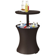 Outdoor Patio Pool Cocktail Table Cooler Bar in Brown Wicker Resin KRCB765151