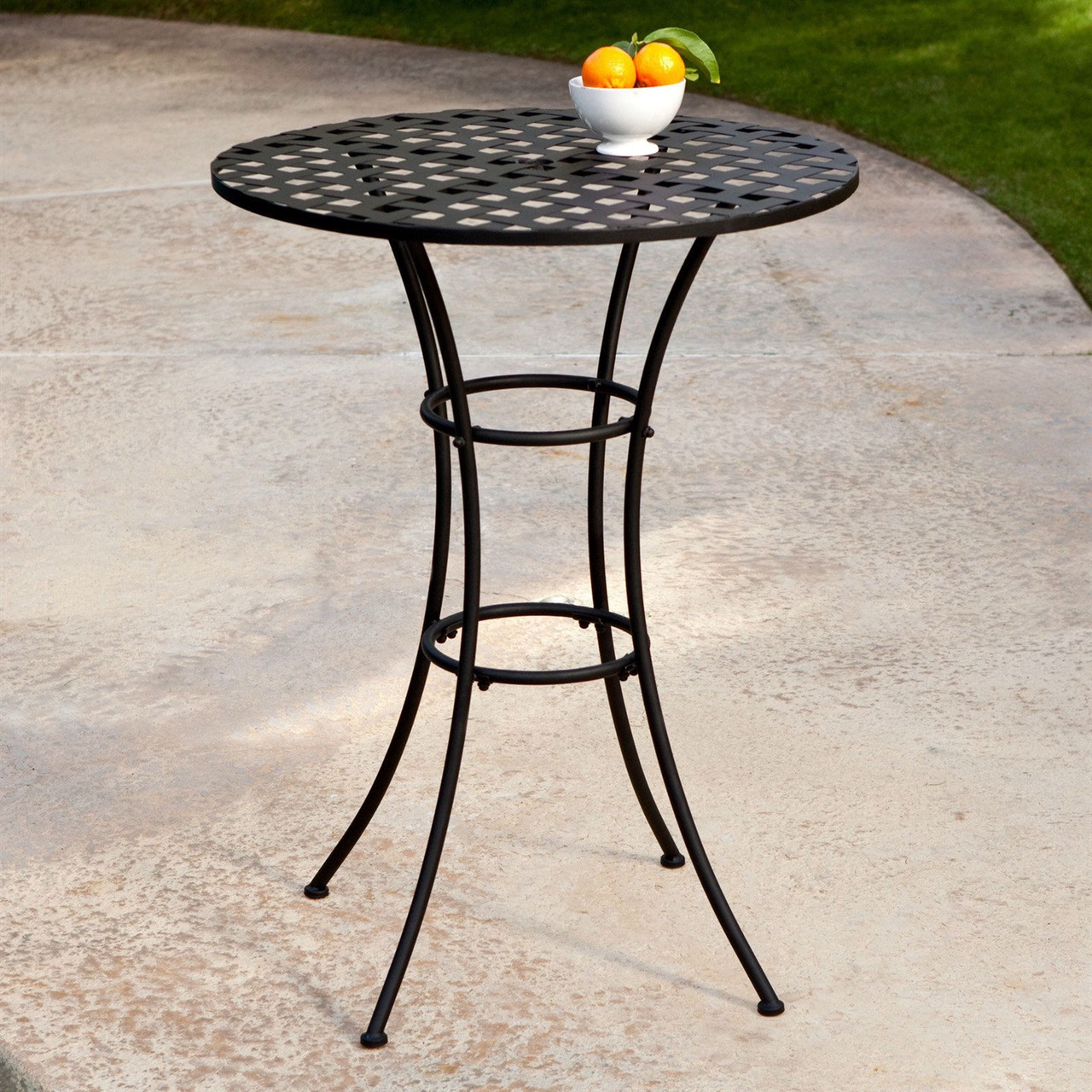 Black Wrought Iron Outdoor Bistro Patio Table Round Tabletop