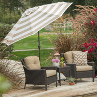 9-Ft Market Umbrella with Tilt and Crank with Beige and White Stripe Canopy CPU5487412