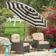 Stylish 9-Ft Market Patio Umbrella with Crank and Tilt in Navy and White Stripe PUMG69415