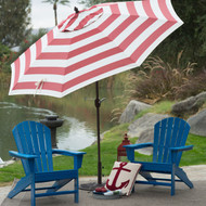 Outdoor 9-Ft Metal Patio Umbrella w/Tilt and Crank Lift in Red and White Stripe YHFTGBD184