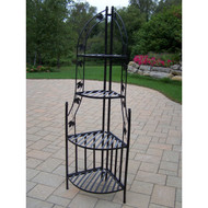 4-Tier Wrought Iron Corner Metal Planter Stand in Black OLCP139