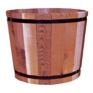 18.5-inch Outdoor Barrel Planter in Cedar Wood - Made in USA OBPC3498