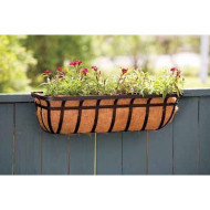 30-inch Window/Deck Planter with Coco Liner in Black PFIS30I1970