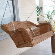 Honey Resin Wicker Porch Swing with Comfort Spring and Hanging Hooks CRWPC5849845