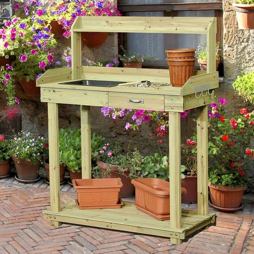 Natural Wood Potting Bench Table with Sink and Outdoor Storage Spac