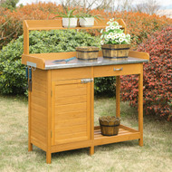 Outdoor Garden Organizer Stainless Steel Top Potting Bench Storage Cabinet DPBCS1654181