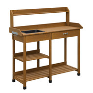 Modern Garden Potting Bench Table with Sink Storage Shelves & Drawer CPB1145618