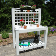 White Vinyl Outdoor Potting Bench with Trellis - Made in USA DRPB239156
