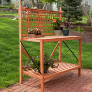 Folding Wood Potting Bench Outdoor Bakers Rack with Shelves FWFPB9981