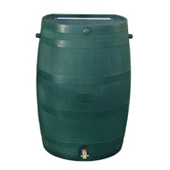 50-Gallon Oak Wood Style Rain Barrel in Green Plastic RT501059B