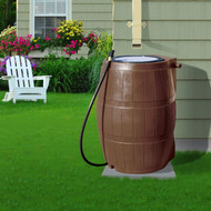 50-Gallon Brown UV Resistant Plastic Rain Barrel w/3-Ft Hose and Shutoff Valve FBYRB54814