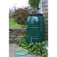 60-Gallon High Density Polyethylene Plastic Rain Barrel in Forest Green GAR1584895