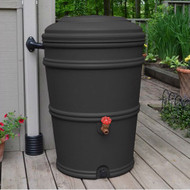 45-Gallon Rain Barrel with Spigot and Rain Gutter Water Diverter in Charcoal GCEG585161