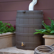 40-Gallon Durable Plastic Resin Rain Barrel in Brown Oak Finish with Spigot GIRW5189415
