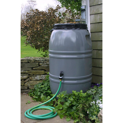 Grey 60-Gallon Rain Barrel with Lid in HDPE Food Grade Plastic Resin GSRB51896