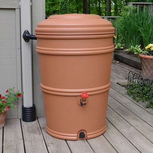 45-Gallon Plastic Rain Barrel with Flexi-Fit Rain Gutter Diverter in Terra Cotta HRP5841815