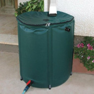 Collapsible 50-Gallon Rain Barrel with Zippered Top in Green Color RB50GZT3643