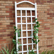 6 Ft White Vinyl Garden Trellis with Arch Top with Ground Mount Anchors DTCVAW47513