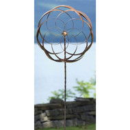 Handcrafted Copper Plated Metal Spinning Flower Pinwheel Garden Stake PFS5198517