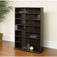 Contemporary 6-Shelf Bookcase Multimedia Rack Tower, Cinnamon Cherry FInish SMSR58198451-4