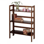 3-Shelf Stackable Folding Bookcase in Distressed Walnut Finish WBFB5988-4