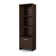 3-Shelf Bookcase with Bottom Door Storage Space in Chocolate SBC670051-4