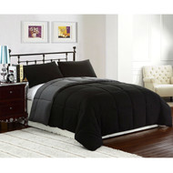 King size 3-Piece Black Grey Microfiber Comforter Set with 2 Shams CBDAK41881