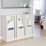 Modern Stacking Storage Unit Vertical Bookcase Bookshelf in Vanilla White Finish TCSV51984183-4