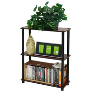 Dark Cherry and Black 3-Tier Shelves Display Bookcase F3TRB2904-4