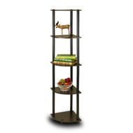 5-Tier Corner Display Shelf Bookcase in Espresso & Black F5T92955EB-4