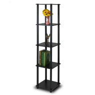 5-Tier Square Corner Display Shelf Bookcase in Espresso/Black F5TCS205689-4