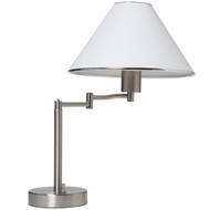 Sing Arm Table Lamp in Brushed Nickel and White Fabric Shade BHSATL35-10