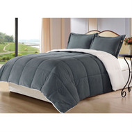 King size 3-Piece Sherpa Berber Throw Blanket Comforter Set in Grey 3PBS6722