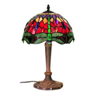 Tiffany Style Table Lamp with Dragonfly Design Colored Glass TSDTL7899-4