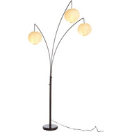 Contemporary Floor Lamp with 3-Light Rice Paper Arch Spheres in Antique Bronze ARFLA101861-4