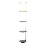 Modern Asian Style Round Shelf Floor Lamp in Black with White Shade ASFL59271-4