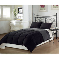 Full/Queen 3-Piece Black Grey Down Alternative Reversible Comforter Set C3PBG5173