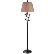 Vine Leaves Rubbed Bronze Finish Floor Lamp with 15-inch Gold Tapered Shade KHFL10813-6
