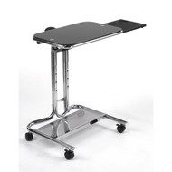 Mobile Laptop Computer Desk Cart with Black Glass Top SDLCWPC8134