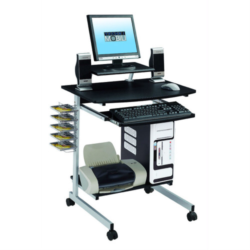 Mobile Compact Computer Cart Desk with Keyboard Tray TMCG550