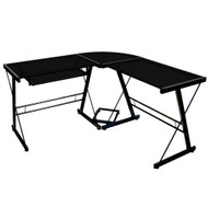 Black Metal and Glass Corner L-Shaped Computer Desk WE3PBG890