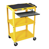 Yellow Compact Mobile Standing Computer Cart Workstation Desk YCSMCW15930