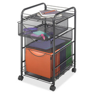 Black Metal Steel Mesh Mobile Filing Cabinet Cart with 2 Drawers and Wheels SP6536105