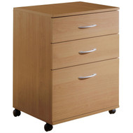 Contemporary 3-Drawer Mobile Filing Cabinet in Natural Maple Finish N3DMF108501
