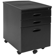 Black 3-Drawer Locking Mobile Filing Cabinet with Casters CDB118991
