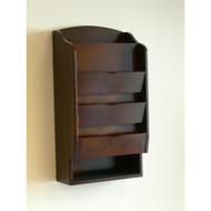 Door / Wall Mount Organizer Letter Holder Mail Sorter in Dark Walnut PDEOMSW85